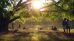 People enjoy the Ibirapuera Park in summer time - stock footage