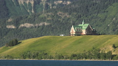 Canada Prince of Wales Hotel on peninsula Waterton Lakes NP Stock Footage