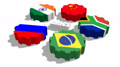 Brics union members flags on rotated gears Stock Footage