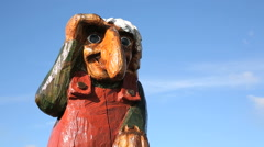 Norwegian Troll figure in the mountain along highway 7 between Oslo and Bergen Stock Footage