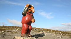 Troll watching side view in Norway - stock footage