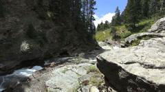 Canada Waterton Lake National Park Red Rock creek Stock Footage