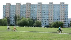 Housing estate (development) with nature and car park - people Stock Footage