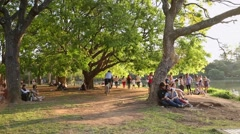 People enjoy the Ibirapuera Park in summer time Stock Footage