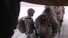 Parachuting airborne jumps and inside the RAAF C-130 Hercules Stock Footage