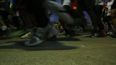Close up of running shoes competion Stock Footage