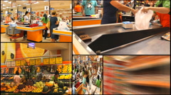 Cashier market store place grocery Market store place food Stock Footage