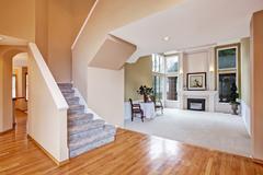 Luxury house interior. living room and hallway Stock Photos