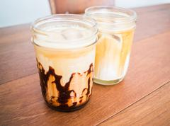 Cold coffee mocha and latte in glass Stock Photos