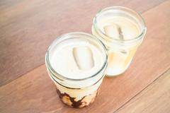 Refresh time with iced coffee mocha and latte Stock Photos