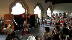 VIANDEN, THE LUXEMBOURG - AUGUST 03 2014: Vianden Castle  Medieval Festival. Stock Footage