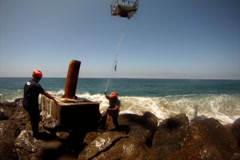 Coast Guard Helicopter Crews Repair Aid to Navigation Stock Footage