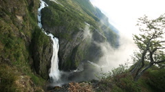 Voringsfoss Waterfall Western Norway Stock Footage