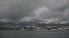 Aircraft carrier USS Ronald Reagan  Joint Base Pearl Harbor-Hickam Stock Footage