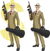 Hispanic mafioso with Tommy-gun cartoon - stock illustration