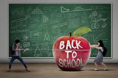 two students back to school - stock illustration