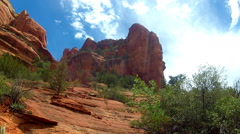 Low Angle View Of Red Rock Peak Sky Clouds- Sedona AZ Stock Footage