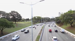 Cars on Avenue May 23 (in portuguese: Avenida 23 de Maio) in Sao Paulo, Brazil. Stock Footage