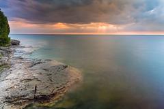 Moody Lake Michigan Dawn - stock photo