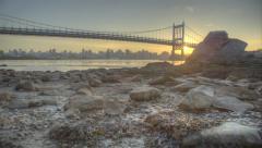 Triboro RFK Bridge HDR Sunset Timelapse Stock Footage