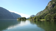 Boathouse in a quiet scenic landscape Western Norway Stock Footage