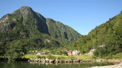 Small village at Odda West Coast of Norway Stock Footage