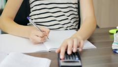 College student preparing for a math exam at home Stock Footage