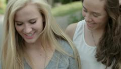 4 Teen Girls Walk Down Alley, Dancing, Twirling, With Arms Around Each Other Stock Footage
