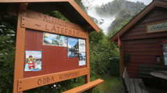 Information Sign at Latefossen Norway Stock Footage