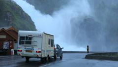 Spectacular Latefossen Waterfall Car passing by - Odda Norway Stock Footage