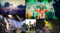 Multiscreen music pop rock alternative on festival cameraman on dolly track Stock Footage