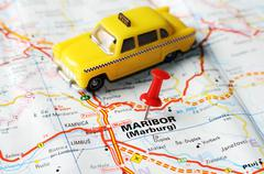 maribor slovenia  map taxi - stock photo