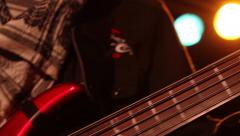 Bassist hands & Lens flare 2 Stock Footage