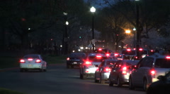 Tail lights of traffic leaving Washington DC in the evening - stock footage