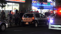 Many Police Officer At An Incident Outside Fussa Train Station Tokyo 02 4K Stock Footage