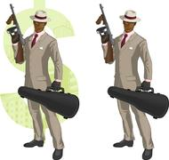 Cartoon afroamerican mafioso with Tommy-gun - stock illustration
