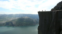 Preacher Pulpit Rock at Lysefjord side view - stock footage
