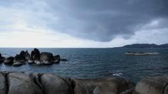 Rocky Shore before Storm. Thai Sea Coast. - stock footage