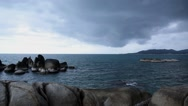 Stock Video Footage of Rocky Shore before Storm. Thai Sea Coast.