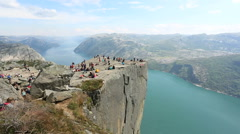 Preacher Pulpit Rock at Lysefjord side view Stock Footage