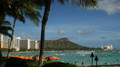 waikiki beach, honolulu, oahu, hawaii - stock footage