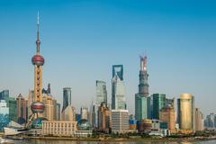 Pudong skyline shanghai china Stock Photos