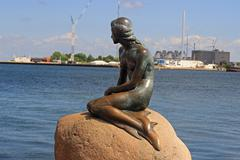 Little Mermaid in Copenhagen harbor - stock photo
