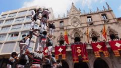 Castells in Terrassa, Spain Stock Footage