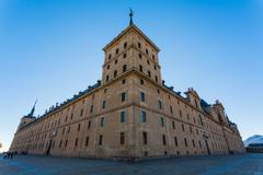 full view of san lorenzo de el escorial royal site - stock photo