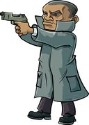 Cartoon secret agent with a trench coat and gun Stock Illustration