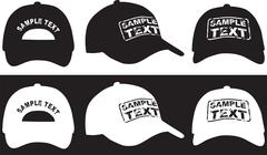 Baseball cap, front, back and side view. Vector Stock Illustration