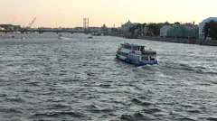 White nights at Neva river on day of celebration Russian Navy - stock footage