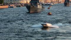 Small motor boat riding under bridge in bay of Neva river, Stock Footage
