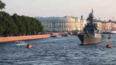 White nights at Neva river with moored battle ships. Saint-Petersburg, Russia - stock footage